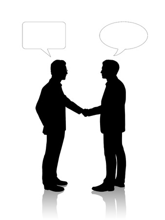 vacant: black silhouettes of two young businessmen shaking their hands, vacant text bubbles above them Stock Photo