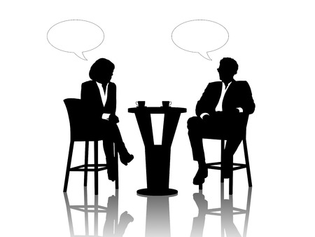 seated: black silhouettes of a businessman and a businesswoman seated at the table drinking coffee and talking, vacant text bubbles above them Stock Photo