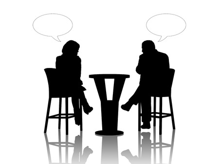 black silhouettes of a man and a woman seated at the table in a street cafe and talking, vacant text bubbles above them