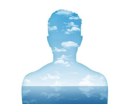 水と空気、美しい風景として彼の内面世界を示す若い男 s 肖像画のシルエット
