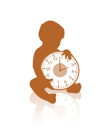 seated: black silhouette of a little baby seated holding a clock