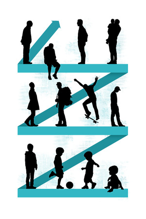 human evolution: men of different age from baby to senior adult standing on a blue zigzag line going up, a symbol of a life course and aging process