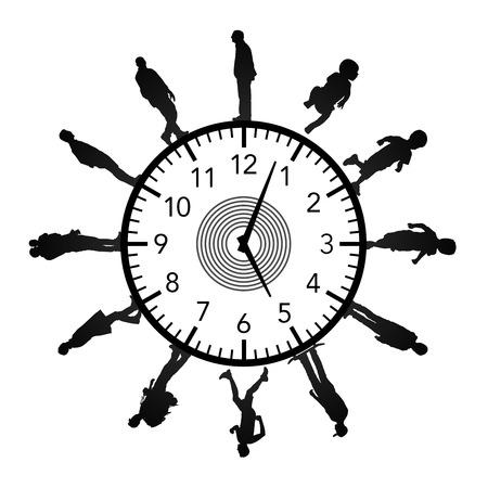 Symbole d'un processus de vieillissement, les hommes de différents âges debout autour d'une immense horloge Banque d'images - 25245233