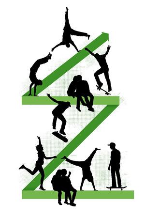 上がって、10 代のクールなライフ スタイルのシンボル緑のジグザグ線の上を歩く若い人たち