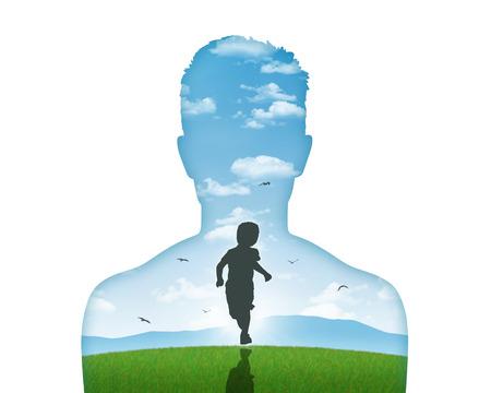 psicologia infantil: silueta de retrato de una joven s mostrando su niño interior que vive en su mente Foto de archivo