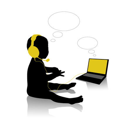 vacant: black silhouette of a little baby seated in front of his computer in headphones and speaking on internet, vacant text bubbles available