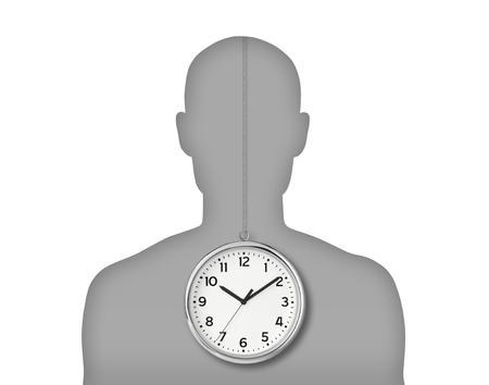 silhouette of a young man s portrait with his biological clock inside his body