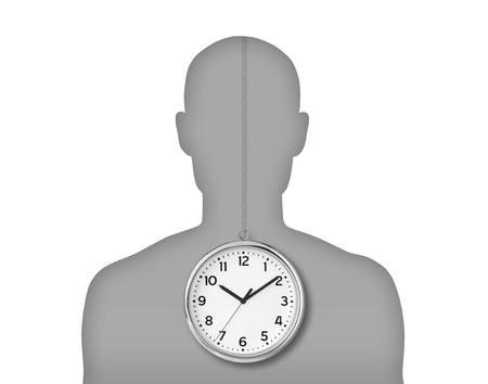 Silhouette du portrait d'un jeune homme avec son horloge biologique à l'intérieur de son corps Banque d'images - 25434071