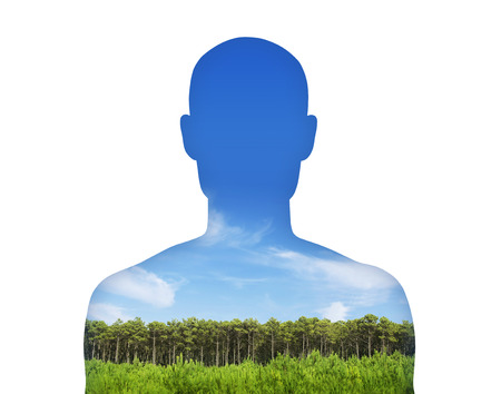 silhouette of a young man s portrait breathing clean air with his lungs Stock Photo