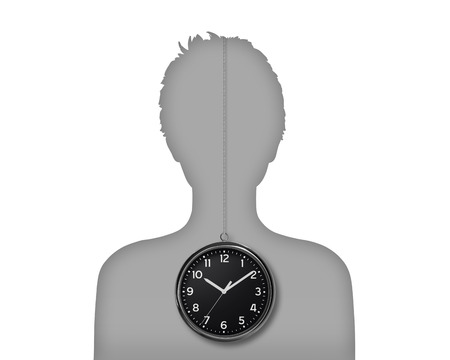 silhouette of a young woman s portrait with her biological clock inside her body
