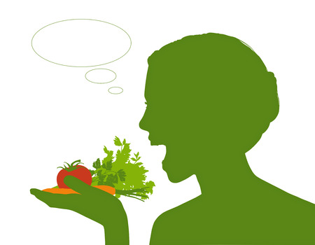 vacant: young beautiful woman holding some vegetables in her hand about to eat it all, a vacant text bubble next to her Stock Photo