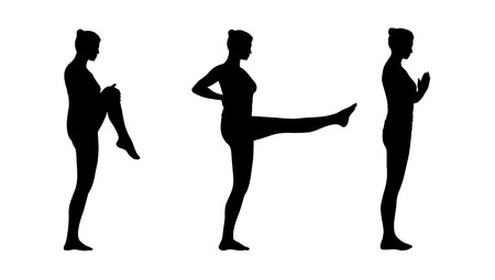 young woman practicing yoga standing in different postures silhouettes set photo