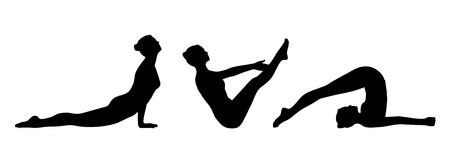 young woman practicing yoga on the floor in different postures silhouettes set photo