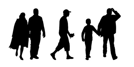 black silhouettes of ordinary men of different ages in couple and with children walking outdoor; front and profile views photo