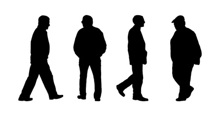 black silhouettes of ordinary old men walking outdoor; front, back and profile view