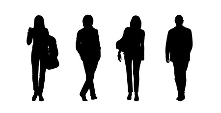 woman behind: black silhouettes of ordinary young men and women walking outdoor; front and back views