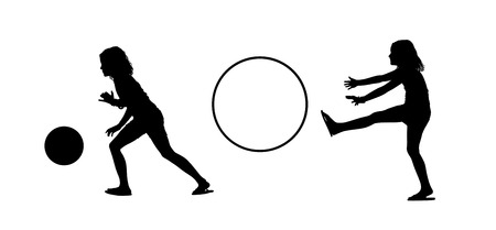 thongs: black silhouettes of a little girl playing with a hoop and with a ball in thongs Stock Photo