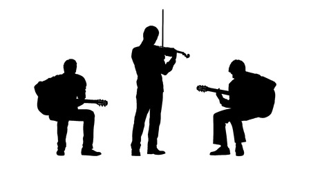 black silhouettes of two musicians playing guitar seated and a violinist playing standing, front view