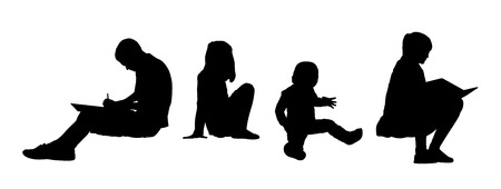 black silhouettes of teens and children seated on the floor outside playing, drawing and reading, front and profile views photo