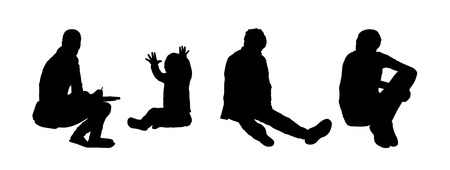 black silhouettes of teens and children seated on the floor outside playing, drawing and reading, front, back and profile views