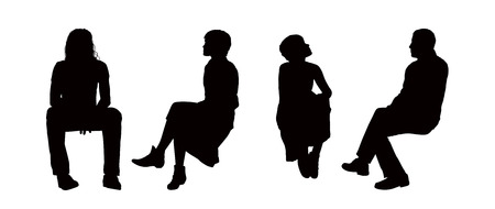 black silhouettes of young men and women seated outdoor in different postures, front, back and profile views Фото со стока