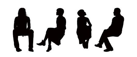 hombre sentado: siluetas negras de hombres y mujeres j�venes sentados al aire libre en diferentes posturas, delantera, trasera y visitas al perfil