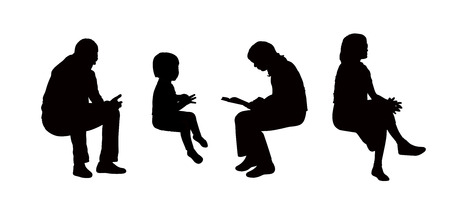 sitting in the bench: black silhouettes of young women, man and a little girl seated outdoor in different postures reading, speaking on the phone or just watching, profile views