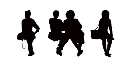 seated: black silhouettes of women of different ages seated outdoor holding their bags, front views