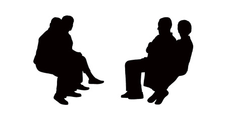 black silhouettes of old couples seated outdoor and talking, profile view Banque d'images