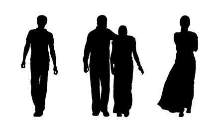 woman behind: black silhouettes of indian man, woman and a couple walking, back view Stock Photo