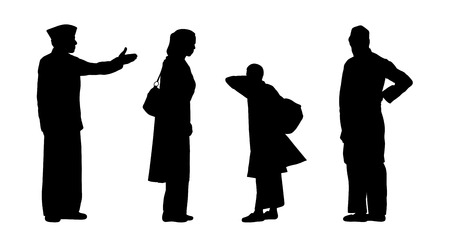 black silhouettes of indian men, women and children standing, back and profile views Stock Photo