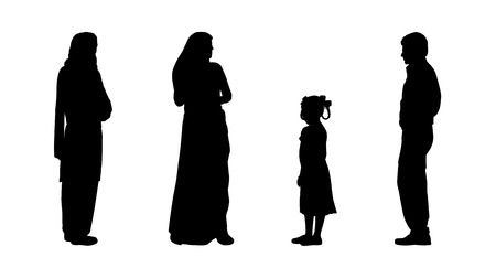 asian family: black silhouettes of indian man, women and a little girl standing, front, back and profile views Stock Photo