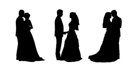 black silhouettes of bride and groom together in various postures, profile views Imagens