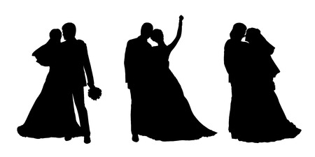 black silhouettes of bride and groom together in various postures, front and profile views
