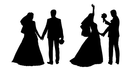 wedding dress back: black silhouettes of bride and groom together holding their hands, back view Stock Photo