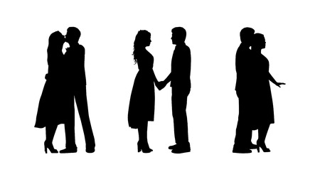 black silhouettes of a young couple of lovers together in various postures, profile views
