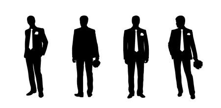 position d amour: silhouettes noires d'un mari� dans diff�rentes postures, vues de face et de dos