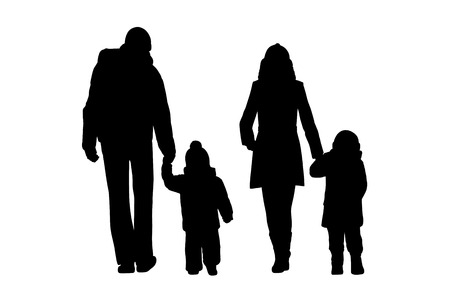 black silhouettes of a family with two little children walking outdoor holding their hands by cold weather, back view Stockfoto