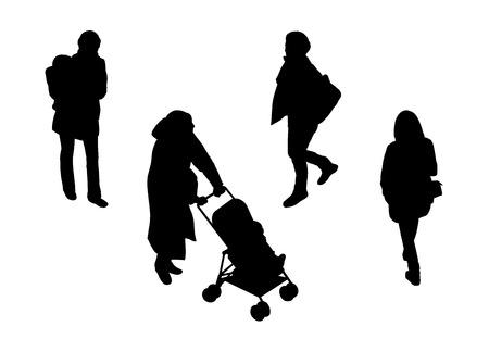 sagome nere di diverse donne che camminano all'aperto da solo e con i loro figli, vista prospettica dall'alto