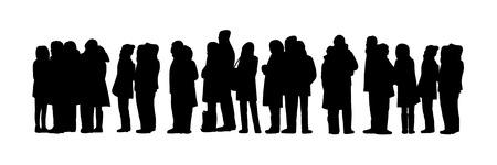 zwarte silhouetten een lange rij mensen staan buiten met koud weer Stockfoto