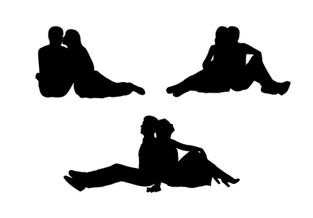 black silhouettes of a young couple of lovers seated together in various postures, profile and front views
