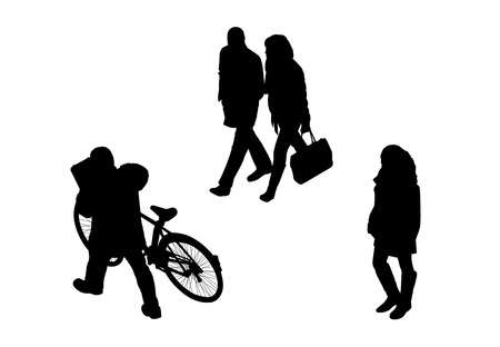 promenade: black silhouettes of a couple, a man with a bicycle and a young girl walking outdoor, perspective view from above Stock Photo