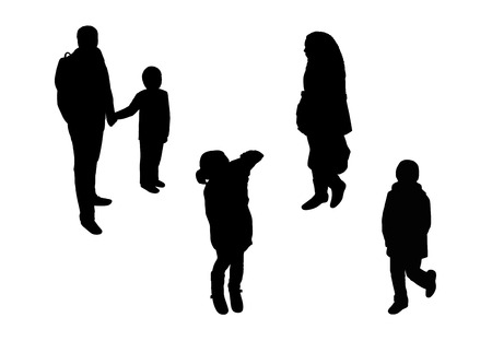 black silhouettes of a man, woman and several children walking outdoor, perspective view from above photo