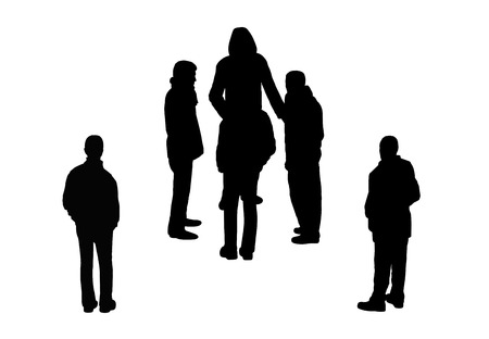 black silhouettes of men and a group of men standing outdoor, perspective view from above photo