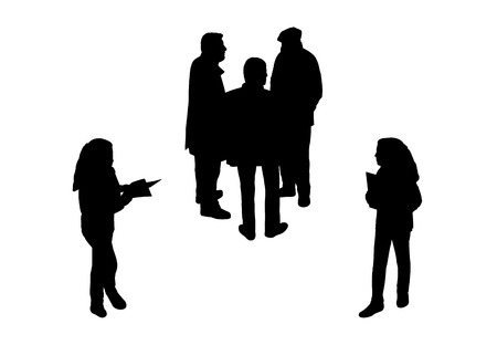 black silhouettes of a group of men and teen girls standing outdoor, perspective view from above photo