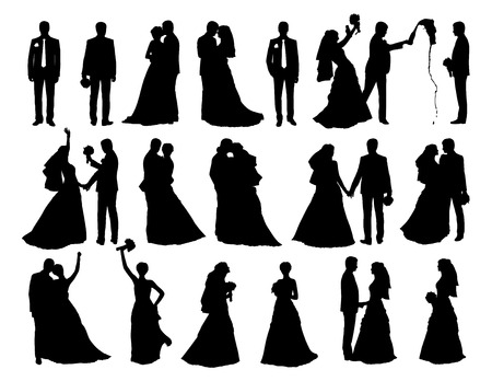 big set of black silhouettes of bride and groom together and alone in different postures