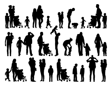 big set of black silhouettes of families with young children in different postures Stockfoto