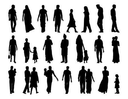 big set of black silhouettes of indian men, women and children standing and walking Imagens