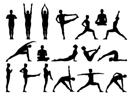 big set of black silhouettes of man and woman practicing yoga in different postures standing and on the floor Stockfoto
