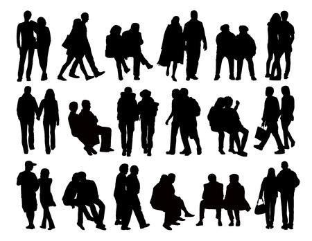 big set of black silhouettes of heterosexual couples of different ages standing, walking and sitting in the street, front, profile and back views Banque d'images